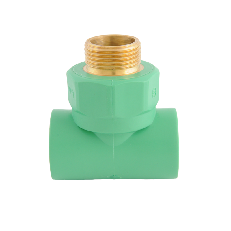Male threaded brass insert Tee with plastic nut