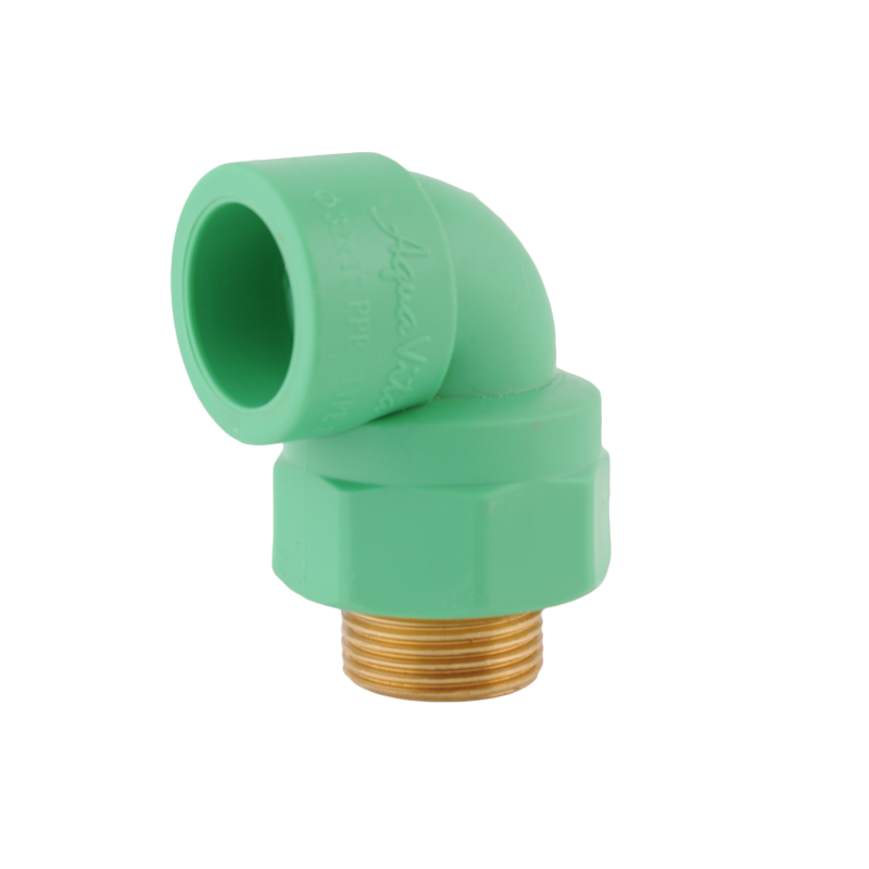 Male threaded brass insert elbow with plastic nut